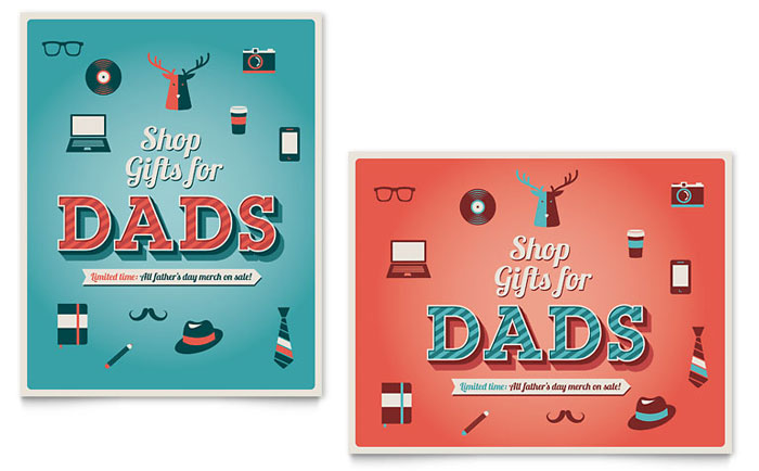 Father's Day Sale Poster Template - Word & Publisher