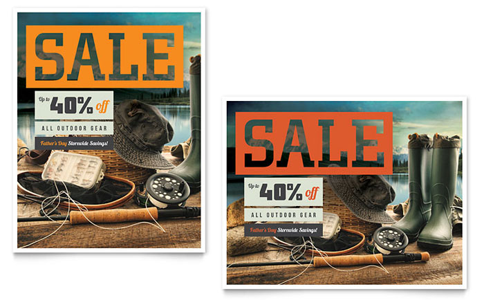 Fishing Gear Sale Poster Template - Word & Publisher