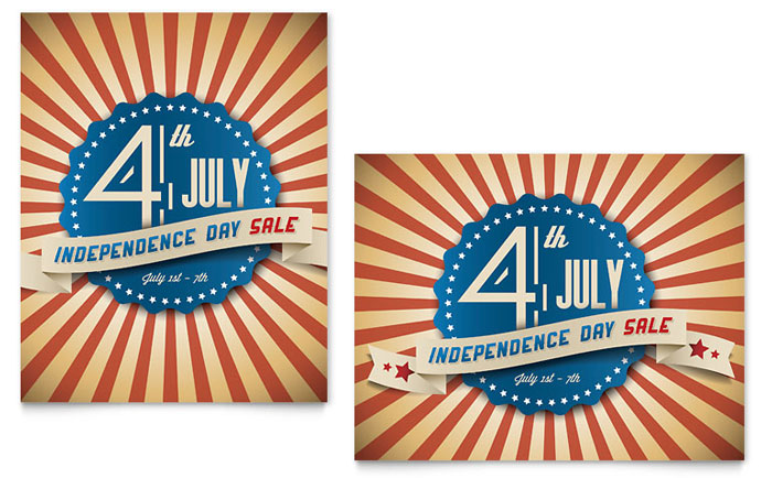 4th of July Sale Poster Template - Word & Publisher
