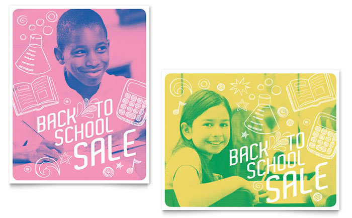 Back 2 School Sale Poster Template - Word & Publisher