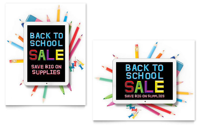 School Supplies Sale Poster Template - Word & Publisher