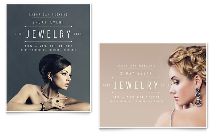 Fine Jewelry Sale Poster Template - Word & Publisher