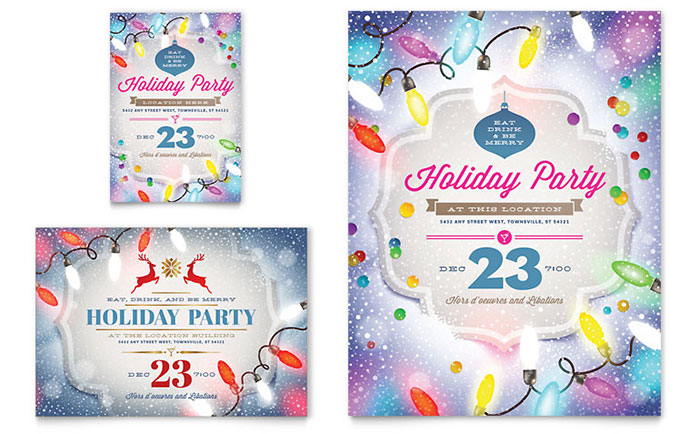 Holiday Party Flyer & Ad Template - Word & Publisher