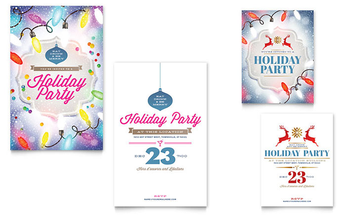 Holiday Party Note Card Template - Word & Publisher