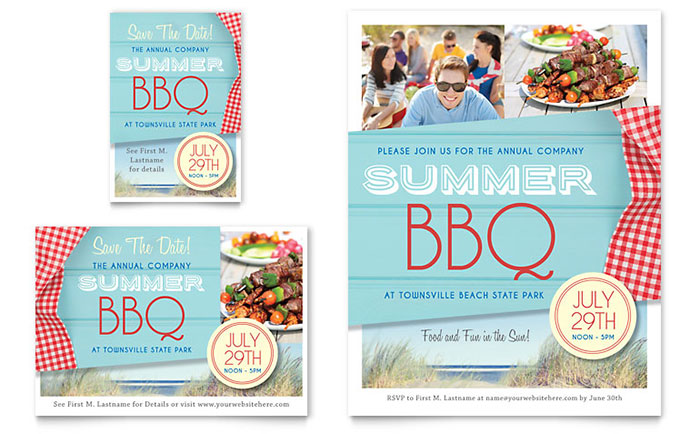 summer bbq flyer  u0026 ad template