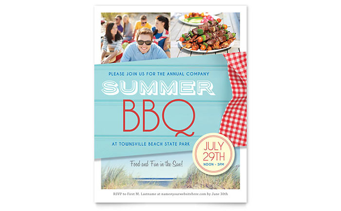 Summer BBQ Flyer Template - Word & Publisher