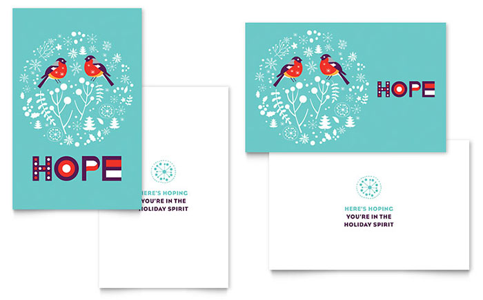 Hope greeting card template word publisher