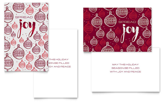 Joy Greeting Card Template - Word & Publisher