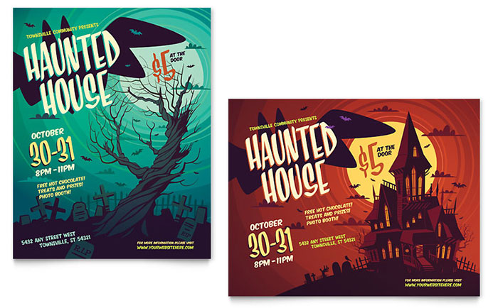 Haunted House Poster Template - Word & Publisher