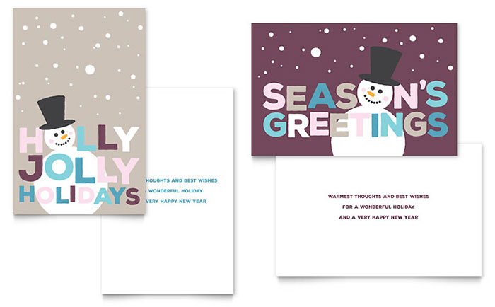 Jolly Holidays Greeting Card Template - Word & Publisher