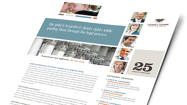 Legal Services Brochures, Flyers, Newsletters - Microsoft Word Templates & Publisher Templates