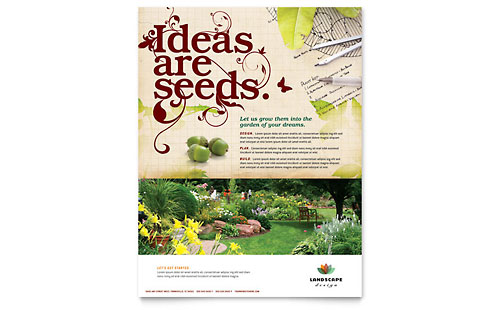landscaping flyers templates - landscape design business card letterhead template