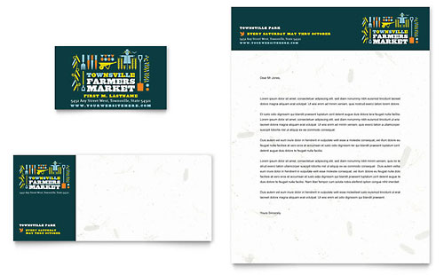 Farmers Market Business Card & Letterhead Template - Microsoft Office