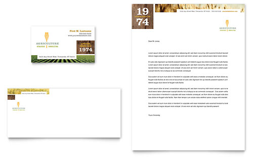Farming & Agriculture Business Card & Letterhead Template - Microsoft Office