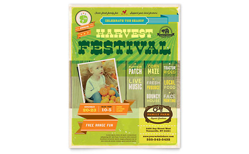 Harvest Festival Flyer Template - Microsoft Office