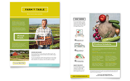 Organic Food Datasheet Template - Microsoft Office