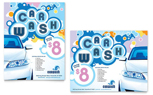Car Wash Poster Template Design
