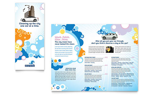 Car Wash Tri Fold Brochure Template - Microsoft Office