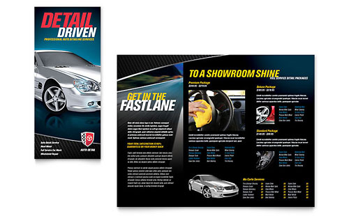 Auto Detailing Tri Fold Brochure Template - Microsoft Office