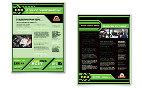 Oil Change Sales Sheet Template - Word & Publisher