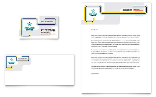 Moving Service Business Card & Letterhead Template - Microsoft Office