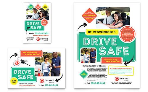 Driving School Flyer & Ad Template - Microsoft Office