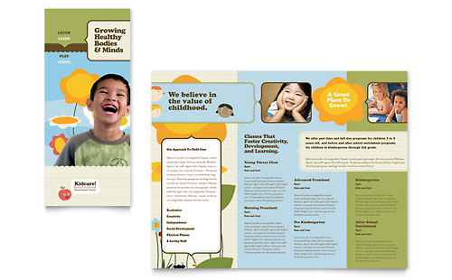 Child Development School Tri Fold Brochure Template - Microsoft Office