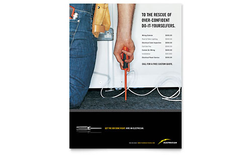 Electrician Flyer Template Design