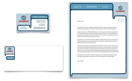 Plumbing Services Business Card & Letterhead Template - Microsoft Office