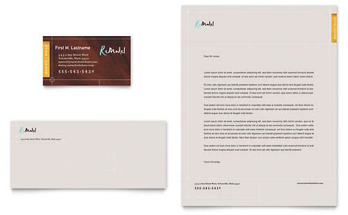 Home Remodeling Business Card & Letterhead Template - Microsoft Office