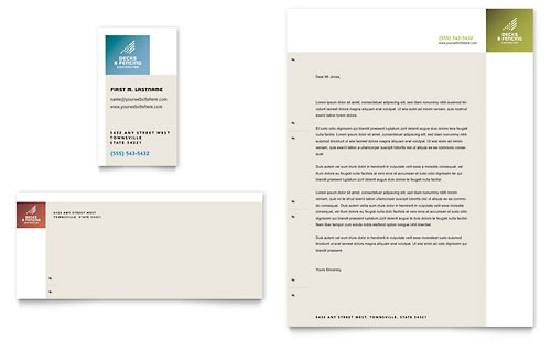 Decks & Fencing Business Card & Letterhead Template - Microsoft Office