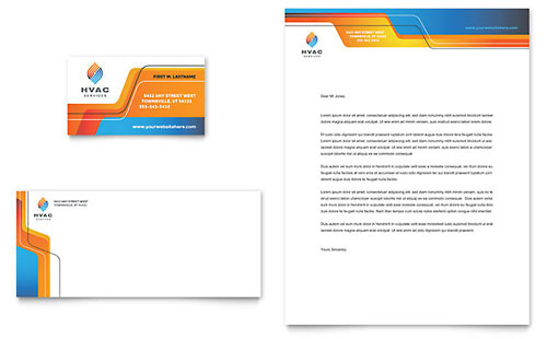 HVAC Business Card & Letterhead Template - Microsoft Office