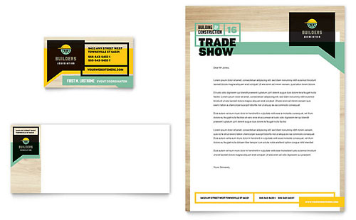 Builder's Trade Show Business Card & Letterhead Template Design
