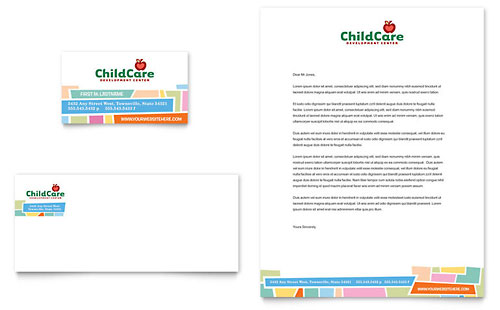 Preschool Kids & Day Care Business Card & Letterhead Template - Microsoft Office