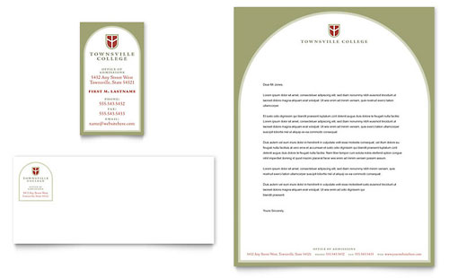 College & University Business Card & Letterhead Template - Microsoft Office