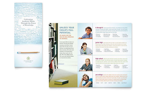 Academic Tutor & School Tri Fold Brochure Template - Microsoft Office