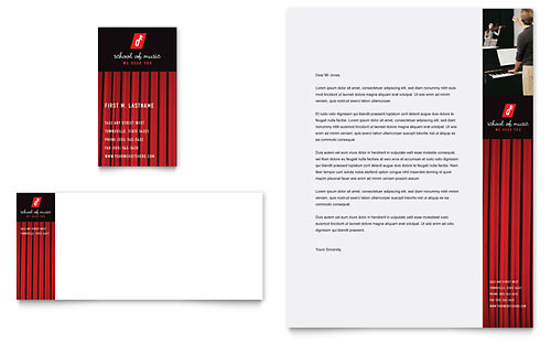 Music School Business Card & Letterhead Template - Microsoft Office