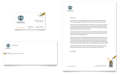 Education Foundation & School Business Card & Letterhead Template - Microsoft Office