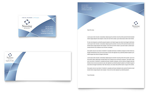 Nursing School Hospital Business Card & Letterhead Template - Microsoft Office