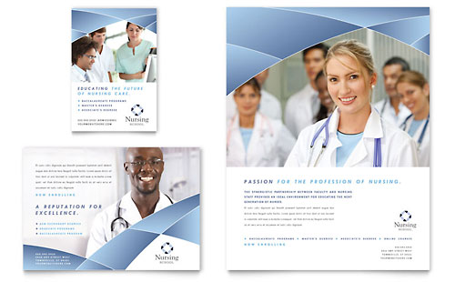 Nursing School Hospital Flyer & Ad Template Design