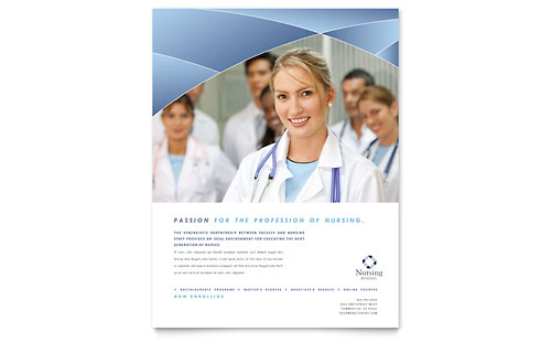 Nursing School Hospital Flyer Template Design