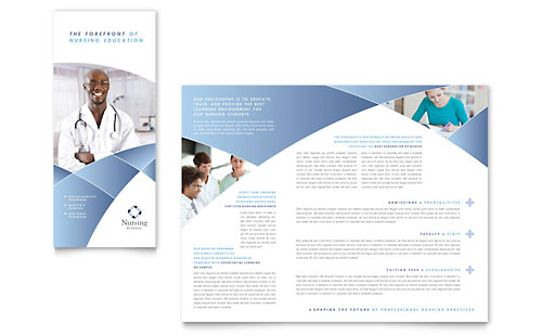 Nursing School Hospital Tri Fold Brochure Template - Microsoft Office