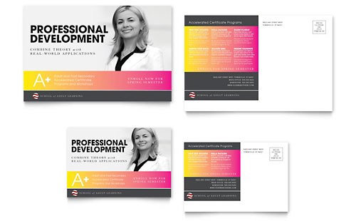 Adult Education & Business School Postcard Template - Microsoft Office