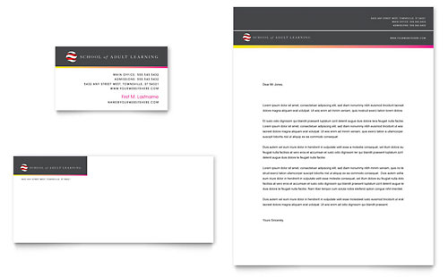 Adult Education & Business School Business Card & Letterhead Template - Microsoft Office