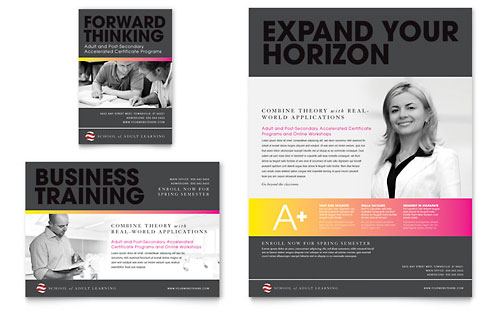 Adult Education & Business School Flyer & Ad Template - Microsoft Office