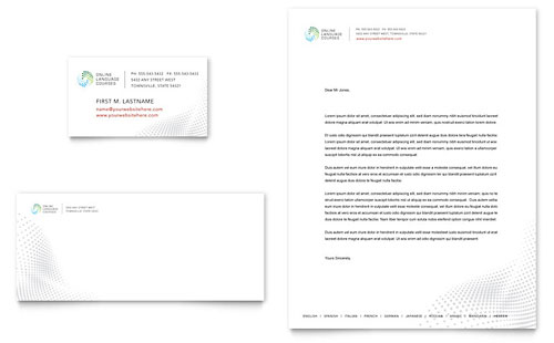 Language Learning Business Card & Letterhead Template - Microsoft Office