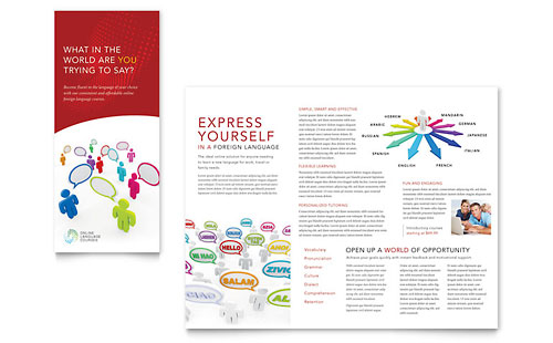 Language Learning Tri Fold Brochure Template Design