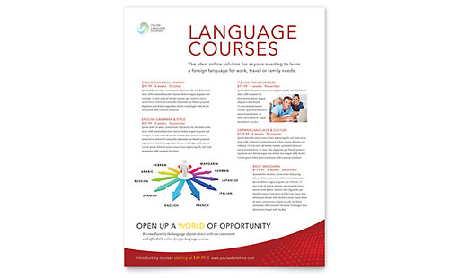 Language Learning Class Flyer Template Design