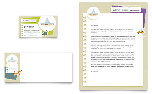 Kindergarten Business Card & Letterhead Template - Microsoft Office