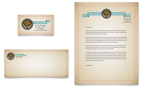 Tutoring School Business Card & Letterhead Template - Microsoft Office